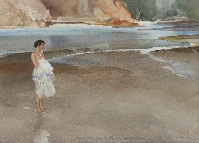 "Sir William Russell Flint PRA PRWS RSW ROI RE (1880-1969) ""Black Sand Creek"" 27 x 37.5cm"