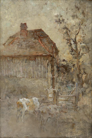 Sir George Pirie PRSA HRSW LLD (1864-1946) Cattle by a farm gate 51 x 35cm (20 x 14ins)