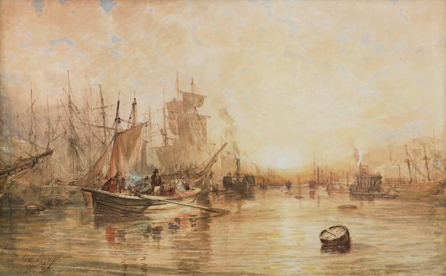 Sam Bough RSA (1822-1878) The Clyde at Glasgow 31 x 50cm (12 x 20ins)