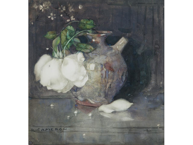 Kate Cameron RSW RE (1874-1965) 'Rose in April' 31 x 29cm (12 x 11 1/2 ins)