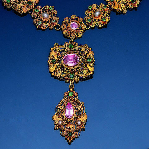 An early 19th century gold cannetille and gem-set demi-parure, (3)
