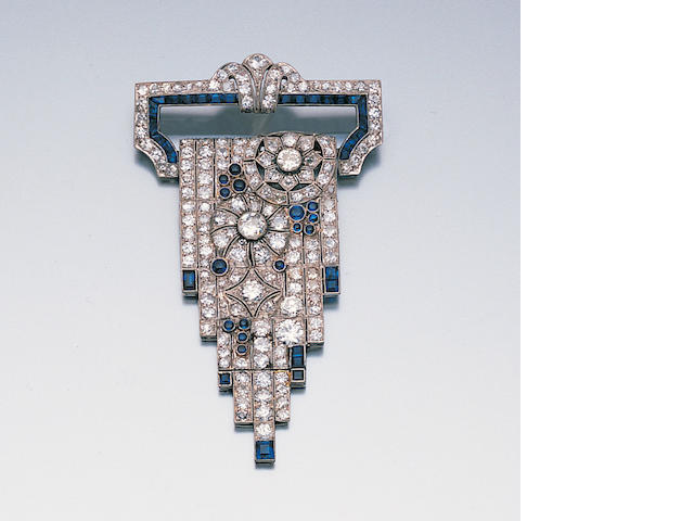 An art deco diamond and sapphire cascade brooch,