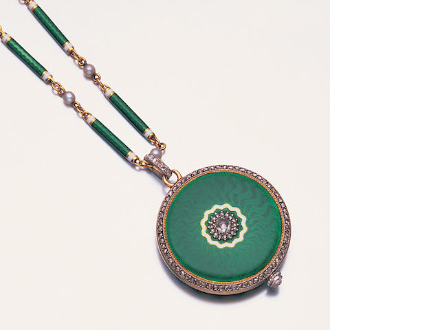 An enamel and diamond fob watch and chain, by Cartier,