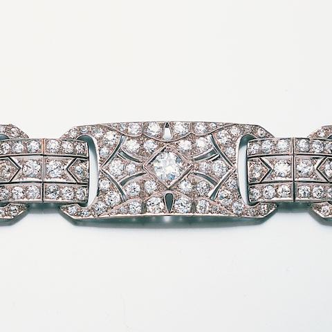 An art deco diamond strap bracelet,