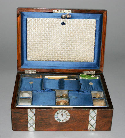 A Mother-Of-Pearl inlaid workbox