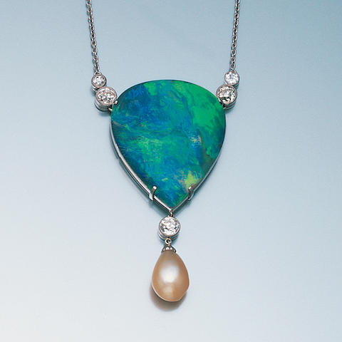An opal, diamond and natural pearl pendant