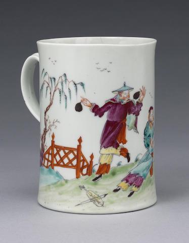 A very rare Worcester mug, circa 1756