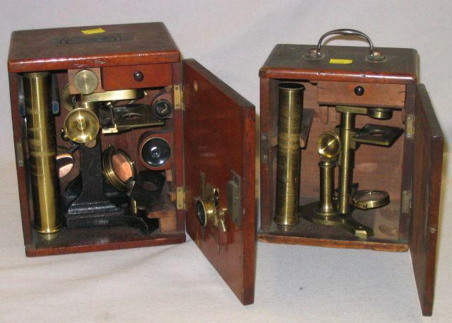 Two cased microscopes, late 19th century,