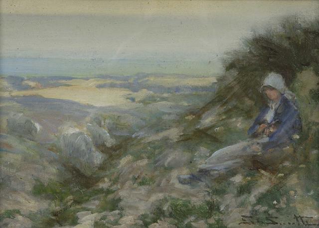 George Smith RSA (1870-1934) On the dunes 24.5 x 34.5cm (9 1/2 x 13 1/2ins)