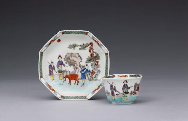 A good Worcester teabowl and saucer circa 1754-55