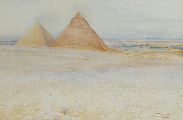 Howard Carter (British, 1874-1939) The Great pyramids of Khufu and Khafre at Giza, Egypt 28.5 x 41.9 cm. (11 1/4 x 16 1/2 in.)