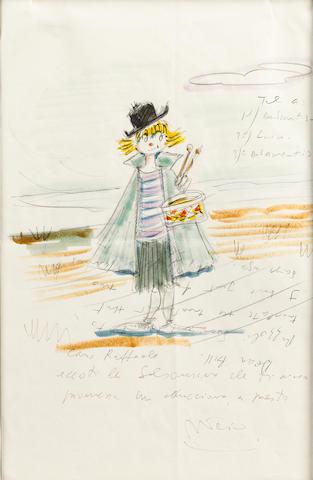 "Original art by Federico Fellini, ""Little Drummer Girl"" circa 1974"