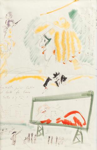 "Original art by Federico Fellini, ""Surreal Advertising"" circa 1974"