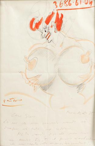 Original Art by Federico Fellini Well Endowed Woman 1975