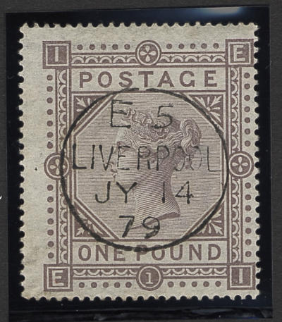 1867-78 wmk. Maltese Cross: £1 brown-lilac EI, neatly cancelled by Liverpool c.d.s., off-centre, otherwise very fine.