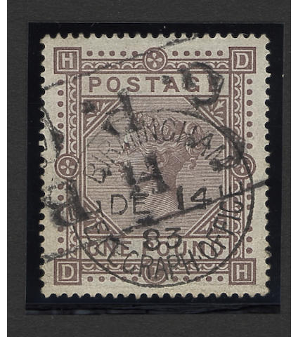 1867-78 wmk. Maltese Cross: 1882-83 wmk. Anchor: £1 brown-lilac DH, very good used.