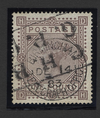 1867-78 wmk. Maltese Cross: 1882-83 wmk. Anchor: £1 brown-lilac DH, very good used.