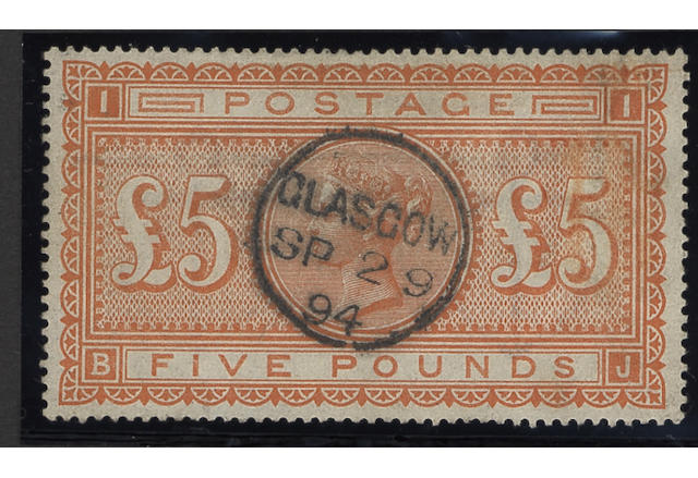1867-78 wmk. Maltese Cross: 1882-83 wmk. Anchor: £5 orange BJ, used with centrally struck Glasgow c.d.s., reduced red crayon line at right.