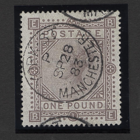 1867-78 wmk. Maltese Cross: 1882-83 wmk. Anchor: £1 brown-lilac BE used, light natural bend, otherwise very fine, good colour.