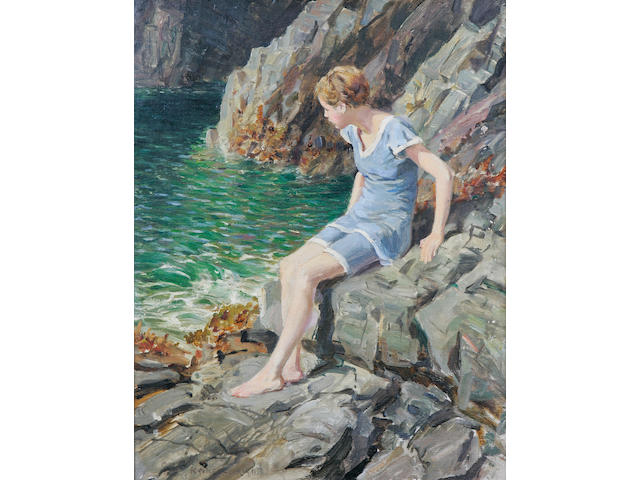 Rowland Wheelwright (British 1870-1955) Girl on Rocks, 31 x 39.5cm.