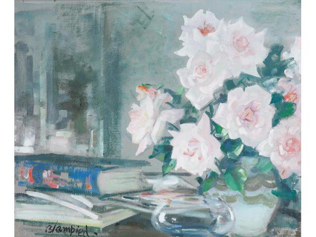 Edmund Blampied (Jersey 1886 - 1966) 'Birthday Roses', 42 x 51.5cm.