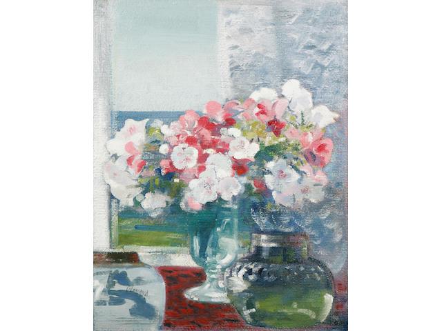 Edmund Blampied (Jersey 1886 - 1966) 'Godetias', a still life study, 67 x 51cm.