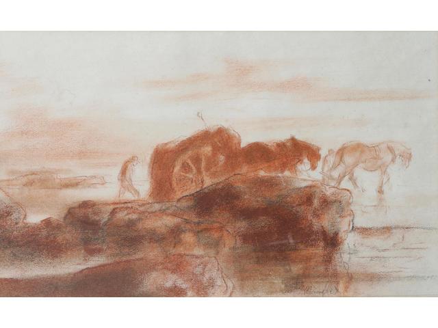Edmund Blampied (Jersey 1886 - 1966) A Vraicing scene, 25 x 41cm.