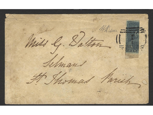 "Barbados: 1852-55 2d. greyish-slate, vertically bisected and used on 1854 (Aug. 24th.) local envelope, tied by Bridgetown no. ""1"" cancel, extremely rare. Diena Certificate (1953) and B.P.A. Certificate (2002). (447)"
