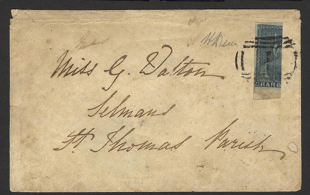 """Barbados: 1852-55 2d. greyish-slate, vertically bisected and used on 1854 (Aug. 24th.) local envelope, tied by Bridgetown no. """"1"""" cancel, extremely rare. Diena Certificate (1953) and B.P.A. Certificate (2002). (447)"""