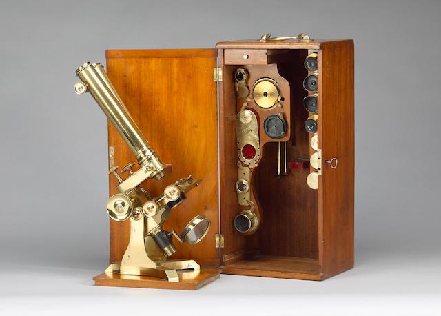 A good C. Collins brass compound binocular microscope, English, circa 1870,