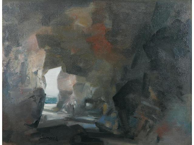 Edmund Blampied (Jersey 1886-1966) 'A North Coast Jersey Cave', 50.5 x 66cm.
