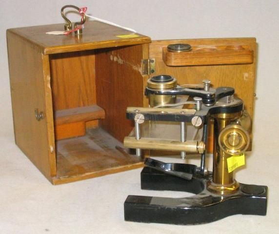 A Bausch & Lomb Optical Co. simple microscope, American, early 20th century,