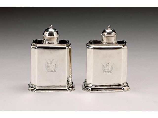 A pair of Queen Anne silver tea caddies, by Joshua Frensham, London 1710,  (2)