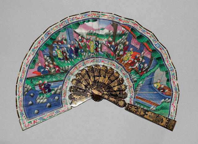 A good mid-19th Century Chinese ivory and gold lacquer fan The guards with lacquer landscapes, birds and other motifs, the ivory sticks decorated to both sides in shaded gold lacquer with temple pagodas, figures, flowers and birds, 31cm.  See illustration