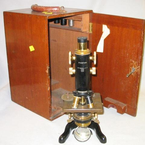 """A W F Stanley """"Stanstorn"""" compound monocular microscope, English, early 20th century,"""