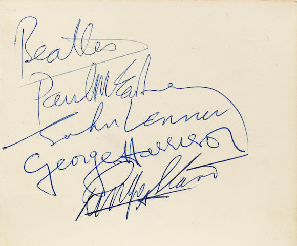 A set of Beatles autographs,  probably 1963,
