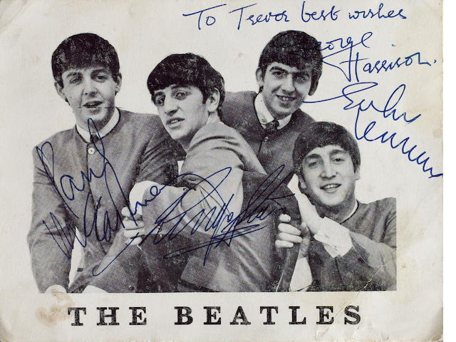 An autographed Beatles publicity card, 1963,