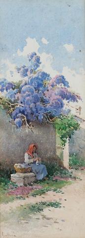 Angelos Giallina (1857-1939) A lady sitting beneath blossom 27.3 x 10.2 cm. (10 3/4 x 4 in.)