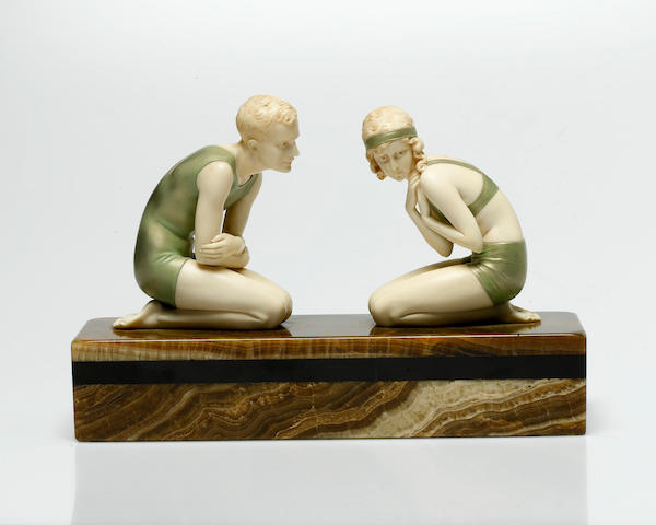 Ferdinand Preiss 'The Bathers' a Fine Cold-Painted Bronze and Carved Ivory Figural Group, circa 1925