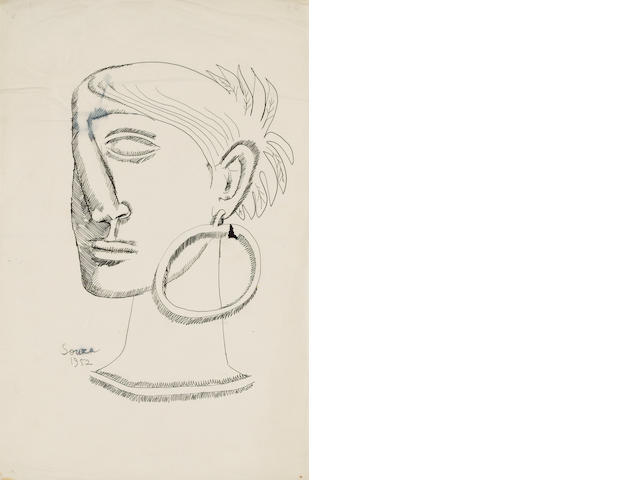 Francis Newton Souza (India, 1924-2002) Portrait of a woman with an ear-ring