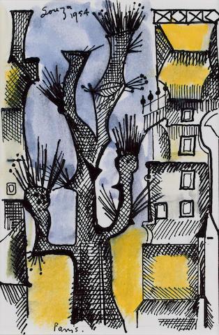 Francis Newton Souza (India, 1924-2002) Paris Street View