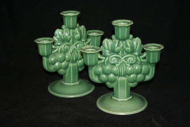 A pair of Poole pottery candelabra, circa 1935-39