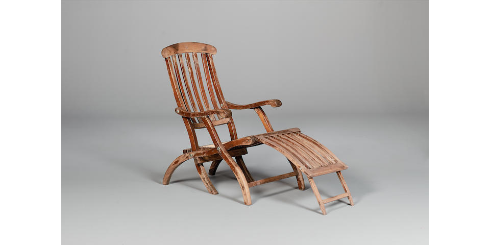 An original White Star Line steamer deckchair, removed from RMS Titanic, 1912 When open 53 x 21 1/2 x 39in (135 x 54 1/2 x 99cm)