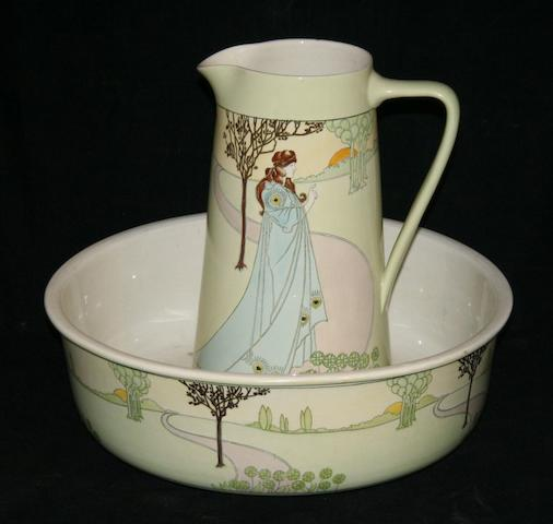 Spencer Edge for Malkin pottery; an art nouveau bathroom set