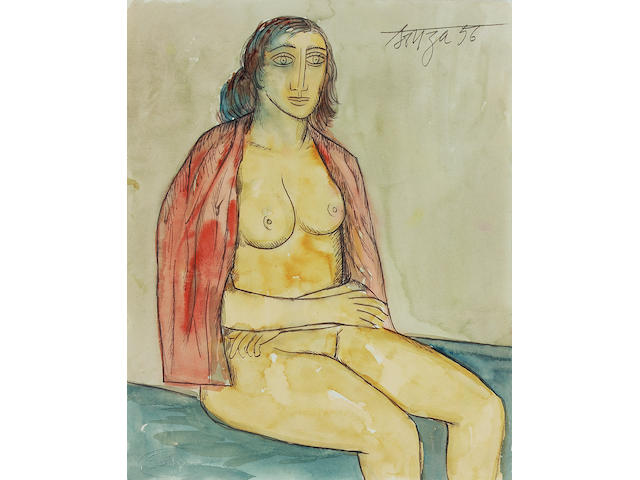 Francis Newton Souza (India, 1924-2002) Seated nude with red shawl