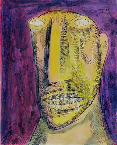 Francis Newton Souza (India, 1924-2002) Head of a man