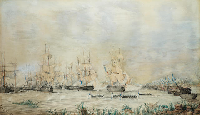 Admiral Sir Edward Augustus Inglefield (British, 1820-1894) The Battle of La Vuelta de Obligado, 20t