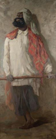 Hugo Vilfred Pedersen (Danish, 1870-1959) A Sikh holding a cane 162.5 x 67.4 cm. (64 x 26½ in.)