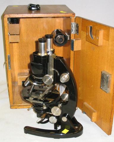 Carl Zeiss, compound binocular microscope, German, circa 1930,