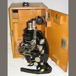 Carl Zeiss, compound binocular microscope, German, circa 1930,